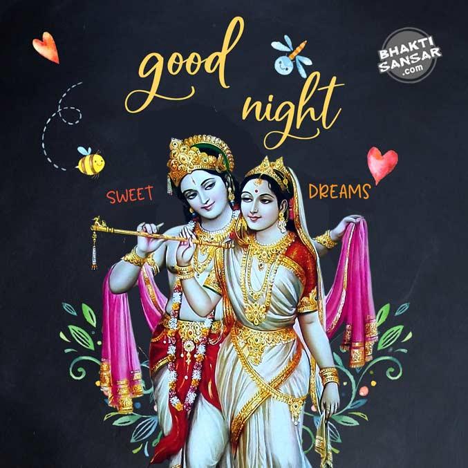 good night radha krishna images